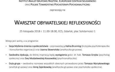 25.11.2018 Gdańsk Warsztat Obywaltelskiej Refleksyności