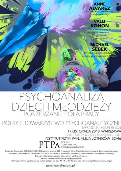 """17.11.2018 Konferencję PTPa """"Psychoanaliza dzieci i młodzieży. Poszerzanie pola pracy"""","""