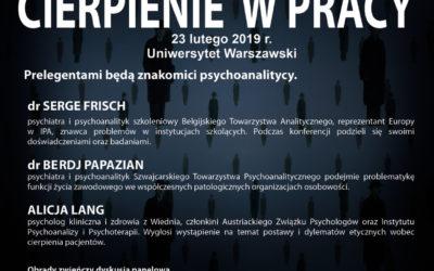 """XXVIII DNI IPP – """"Cierpienie w pracy"""" 23 lutego 2019 r."""