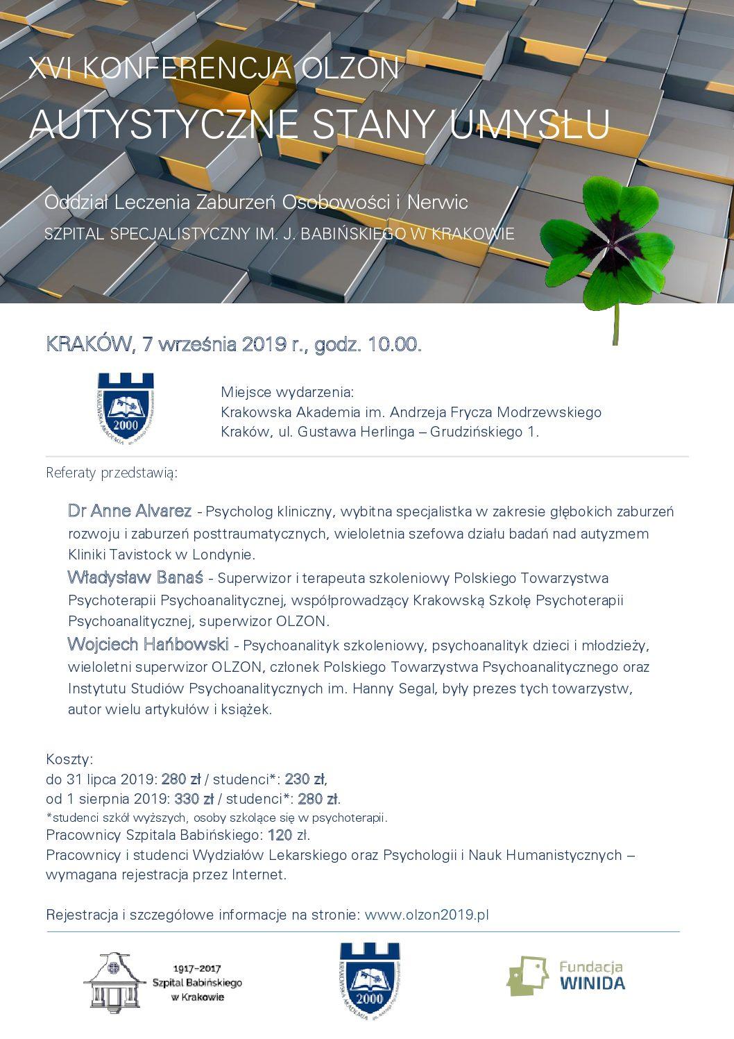 """07.09.2019 XVI Konferencja OLZON """"Autystyczne stany umysłu"""""""